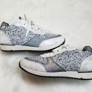 White Glitter Jewel Encrusted Fashion Sneakers 10